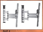 BRAVO FLAT2S: 3 Hinge / 2 Arm Flat TV Wall Support (Silver)