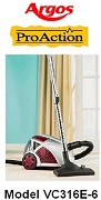 ARGOS Proaction Bagless Vacuum Cleaner Model VC316E-6